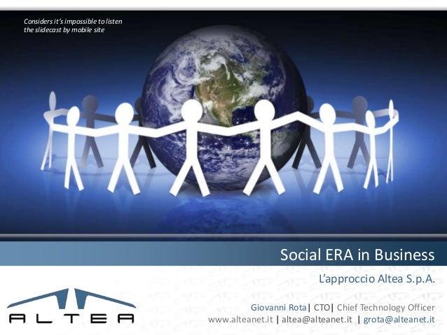 Social ERA in business (1/2) Altea approach