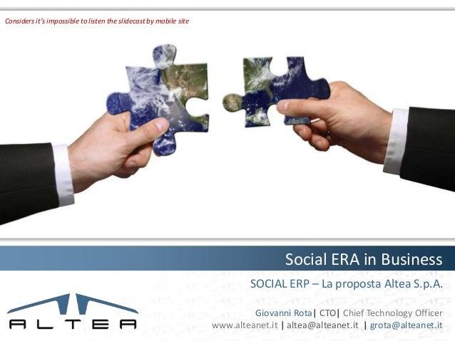 Social ERA in business (2/2) Altea proposal