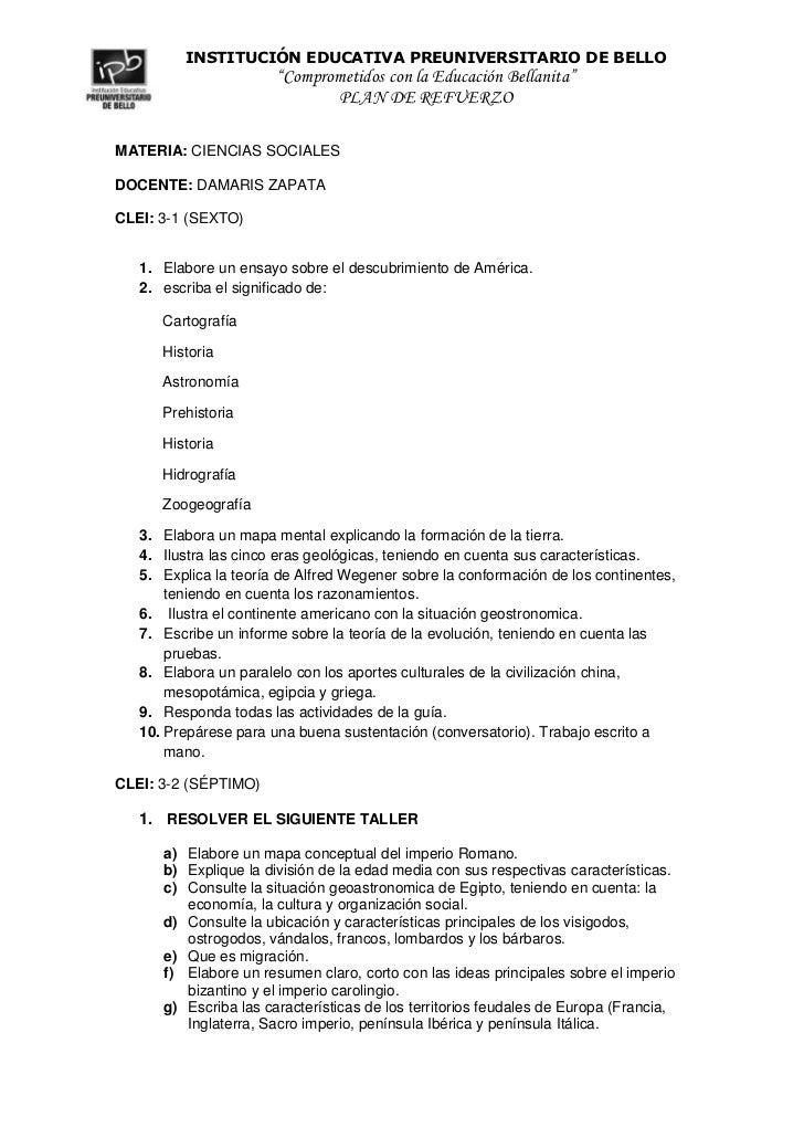 MATERIA: CIENCIAS SOCIALES<br />DOCENTE: DAMARIS ZAPATA <br />CLEI: 3-1 (SEXTO)<br />Elabore un ensayo sobre el descubrimi...