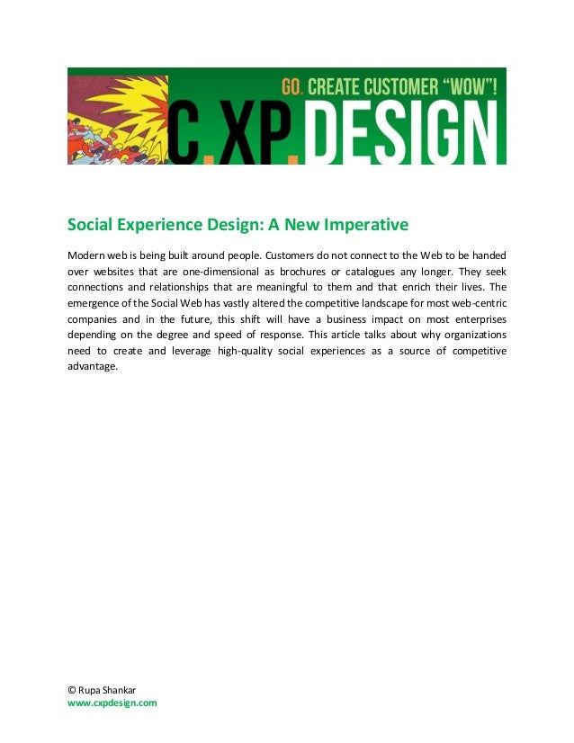 Social experience design: a new imperative