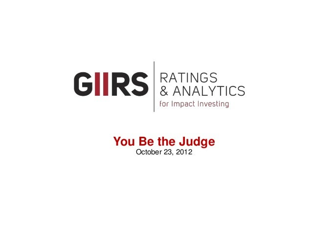 GIIRS: Rating and analytics for impact investing