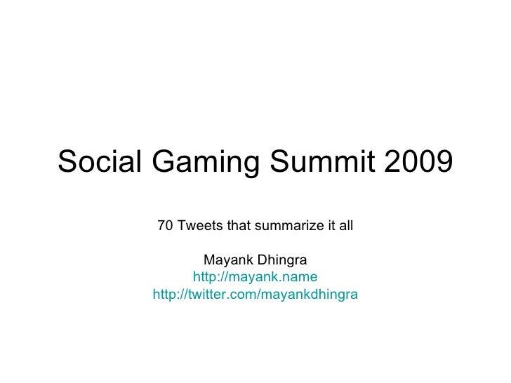 Social Gaming Summit 2009
