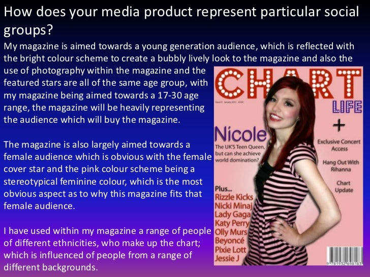 How does your media product represent particular socialgroups?My magazine is aimed towards a young generation audience, wh...