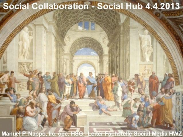 Social Collaboration - Social Hub 4.4.2013Manuel P. Nappo, lic. oec. HSG - Leiter Fachstelle Social Media HWZ