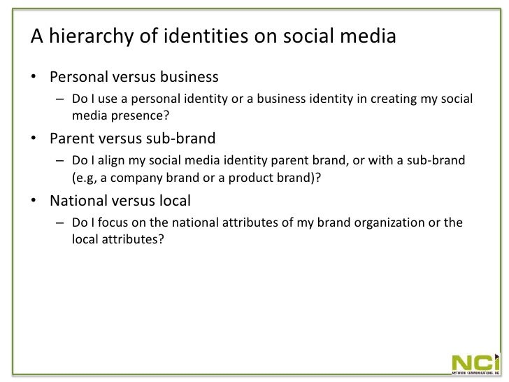 A hierarchy of identities on social media • Personal versus business    – Do I use a personal identity or a business ident...