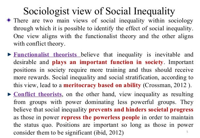 sociological theories of inequality of Critiquing and expanding the sociology of inequality: comparing functionalist, conflict, and interactionist perspectives interactionism and inequality functionalism and conflict theory appear to be diametrically opposed.
