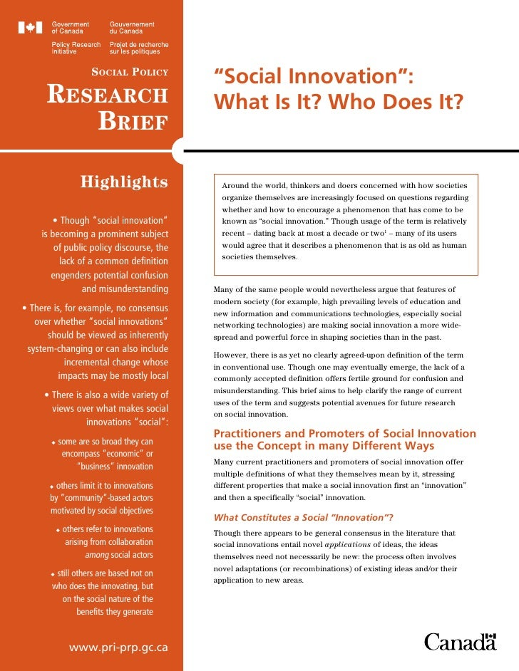"""Social Policy                                             """"Social Innovation"""":      ReSeaRch                              ..."""