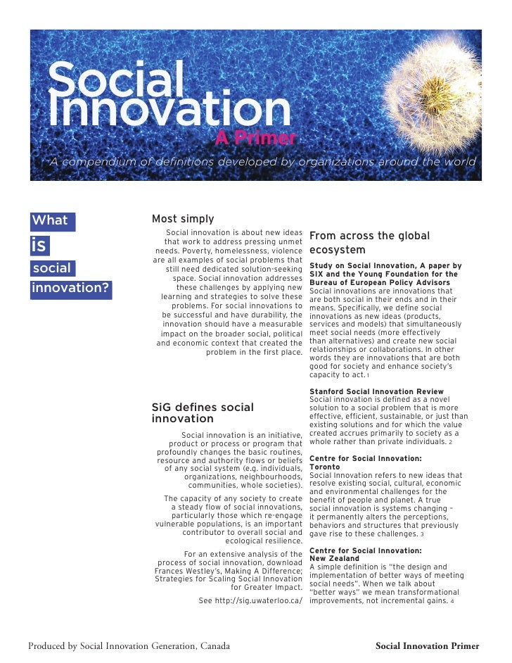 Social    Innovation           A Primer     A compendium of definitions developed by organizations around the worldWhat   ...