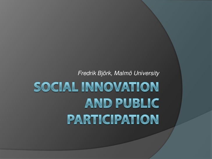 Social Innovation and public participation
