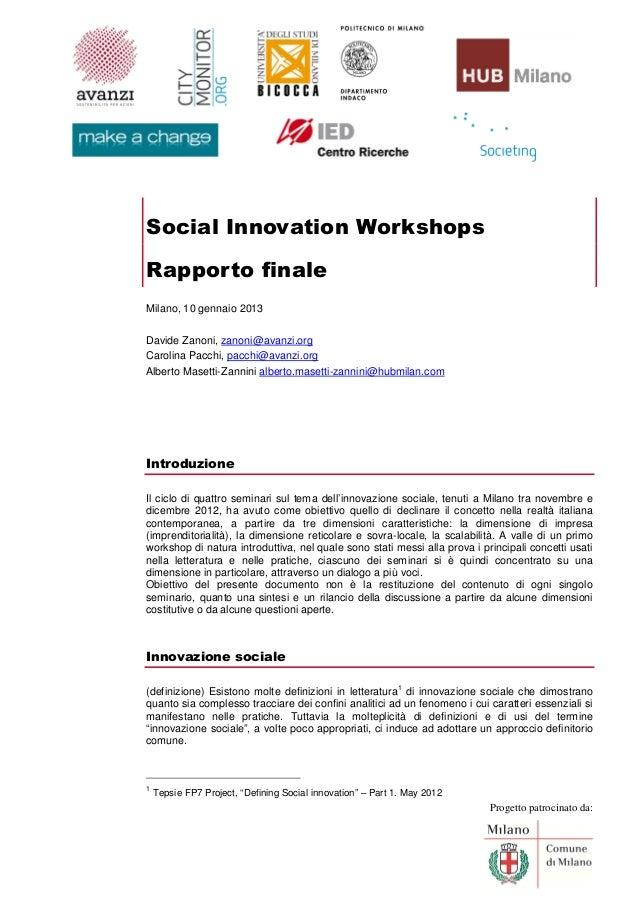 Social innovation workshop rapporto finale