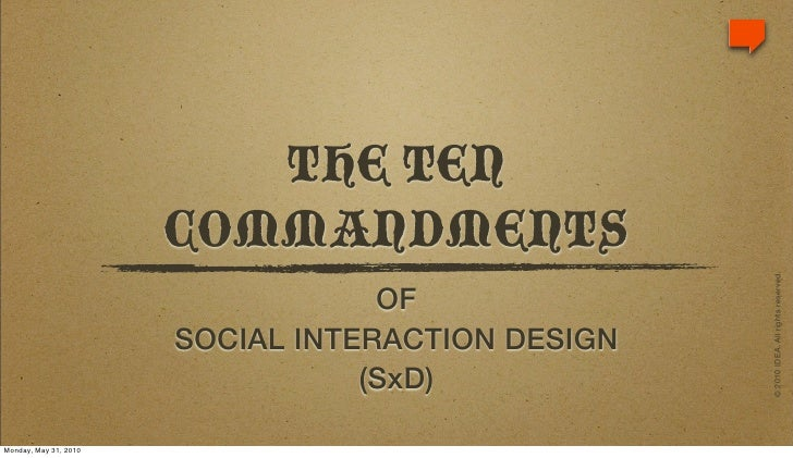 10 Commandments of Sociability (UX + Social Media)