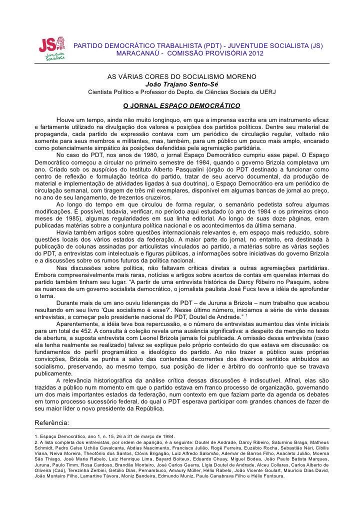PARTIDO DEMOCRÁTICO TRABALHISTA (PDT) - JUVENTUDE SOCIALISTA (JS)                           MARACANAÚ - COMISSÃO PROVISÓRI...