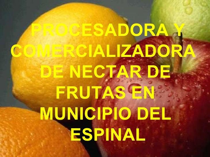 PROCESADORA Y COMERCIALIZADORA  DE NECTAR DE  FRUTAS EN  MUNICIPIO DEL  ESPINAL