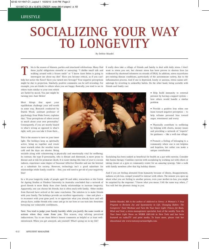 LIFESTYLE                  SOCIALIZING YOUR WAY                   TO LONGEVITY                                            ...