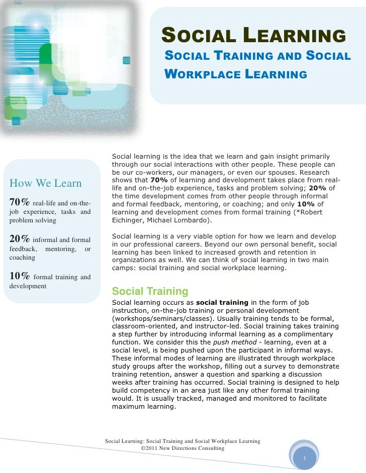 Social learning   social training and social workplace learning new directions