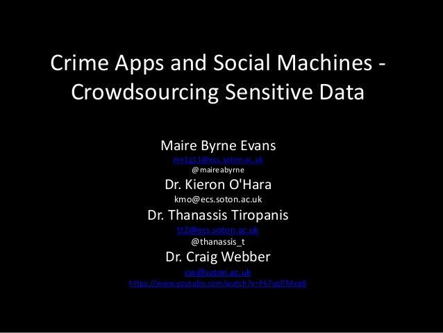 Crime Apps and Social Machines -Crowdsourcing Sensitive DataMaire Byrne Evansme1g11@ecs.soton.ac.uk@maireabyrneDr. Kieron ...