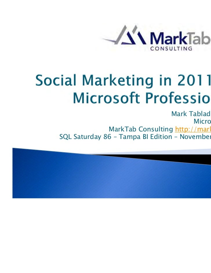 SQL Saturday 86 -- Social Marketing in 2011 for Microsoft Professionals