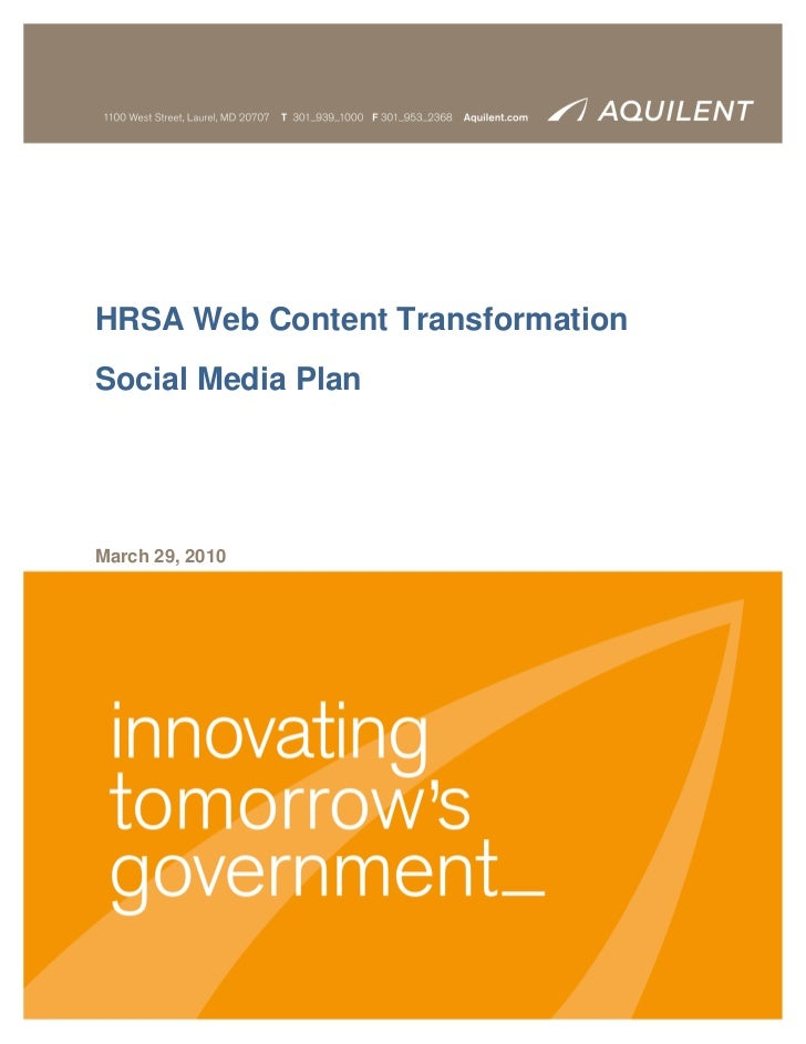 HRSA Web Content TransformationSocial Media PlanMarch 29, 2010