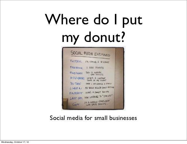 Where do I put                             my donut?                            Social media for small businessesWednesday...