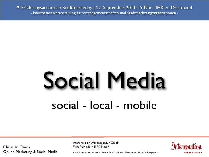 9. Erfahrungsaustausch Stadtmarketing | 22. September 2011, 19 Uhr | IHK zu Dortmund               - Informationsveranstal...