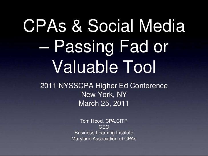Social Media & CPAs  NYSSCPA