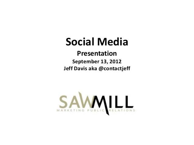 Social Media     Presentation    September 13, 2012Jeff Davis aka @contactjeff