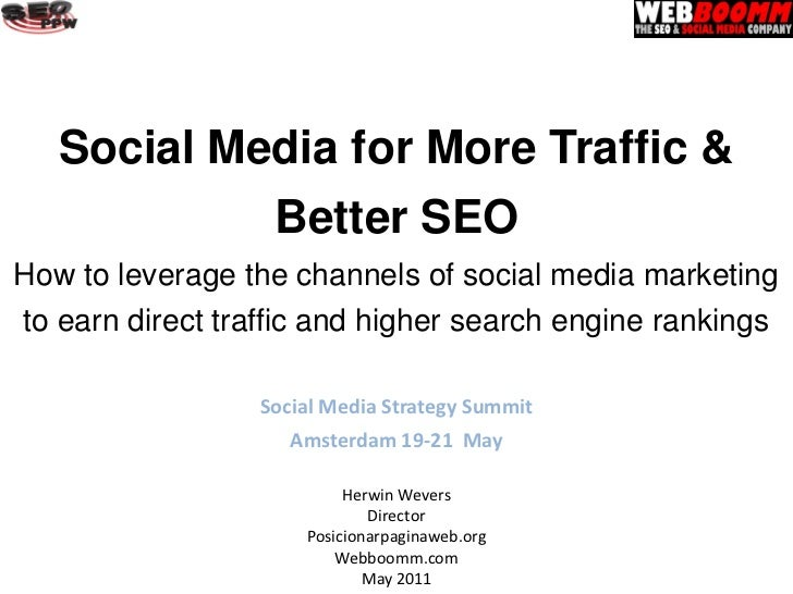 Social Media for More Traffic &                  Better SEOHow to leverage the channels of social media marketingto earn d...