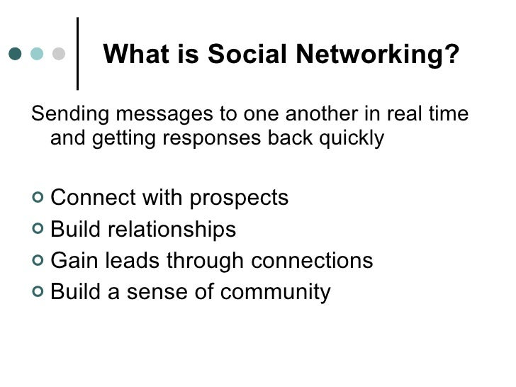 What is Social Networking? <ul><li>Sending messages to one another in real time and getting responses back quickly </li></...