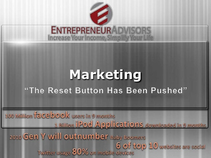 "Marketing<br />""The Reset Button Has Been Pushed""<br />100 Million facebookusers in 9 months<br />1 Billion iPod Applicati..."