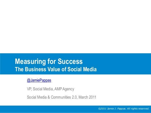 Measuring for Success The Business Value of Social Media @JamiePappas VP, Social Media, AMP Agency Social Media & Communit...