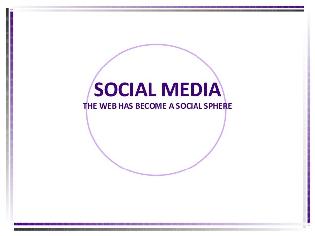 SOCIAL MEDIA  THE WEB HAS BECOME A SOCIAL SPHERE
