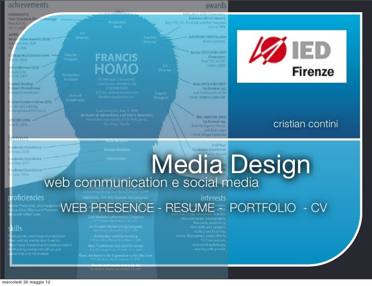 cristian contini                                     Media Design                   web communication e social media      ...