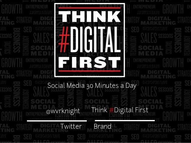It's 1989 Warren Knight Think #Digital First Twitter @wvrknight Brand Social Media 30 Minutes a Day