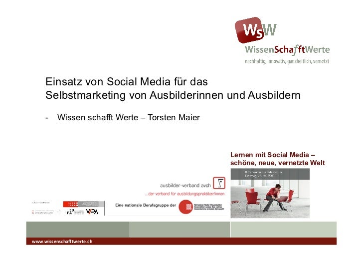 Einsatz von Social Media für das      Selbstmarketing von Ausbilderinnen und Ausbildern      - Wissen schafft Werte – Tor...
