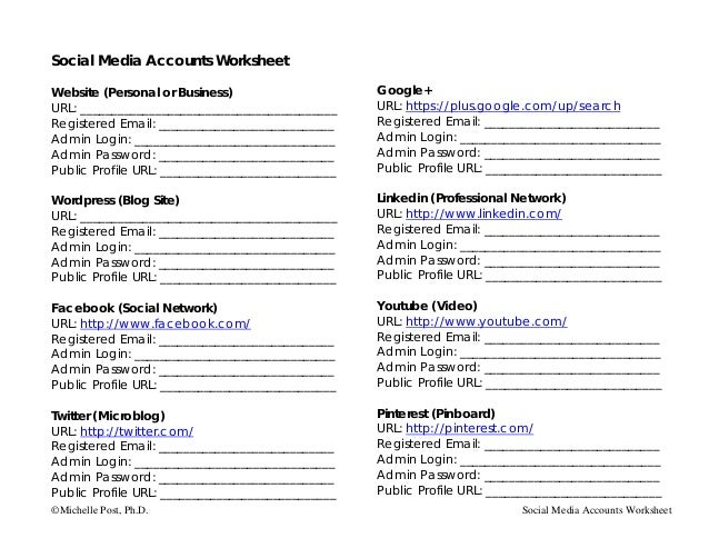 Social Media Accounts WorksheetWebsite (Personal or Business)                     Google+URL: ____________________________...