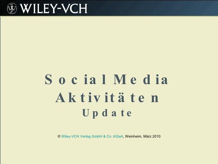 Social Media Aktivitaeten Wiley-VCH