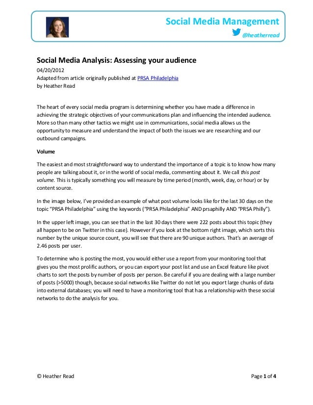 © Heather Read Page 1 of 4Social Media Management@heatherreadSocial Media Analysis: Assessing your audience04/20/2012Adapt...