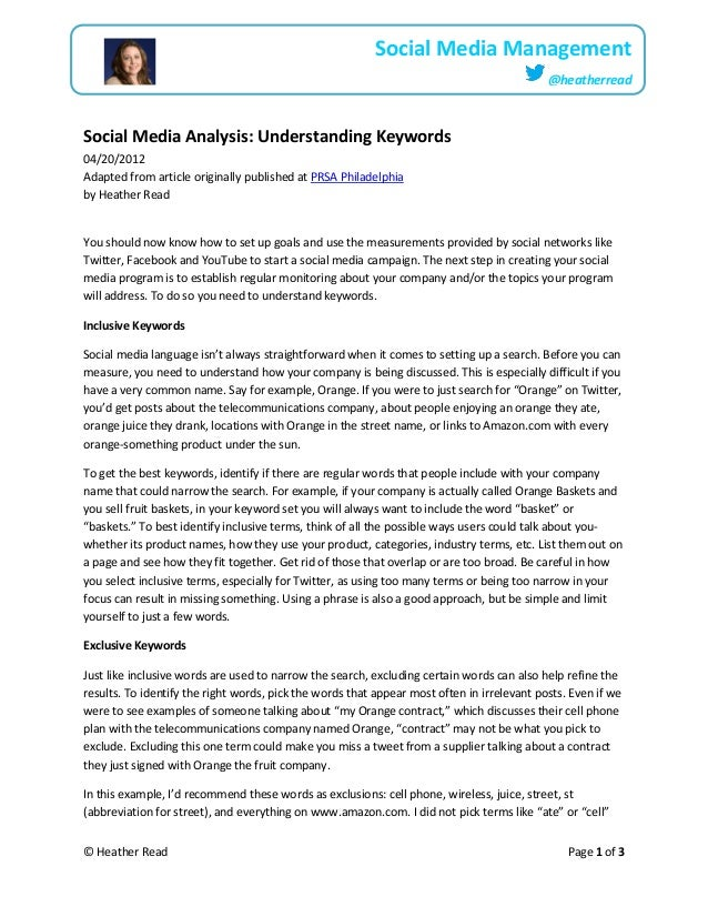 © Heather Read Page 1 of 3Social Media Management@heatherreadSocial Media Analysis: Understanding Keywords04/20/2012Adapte...