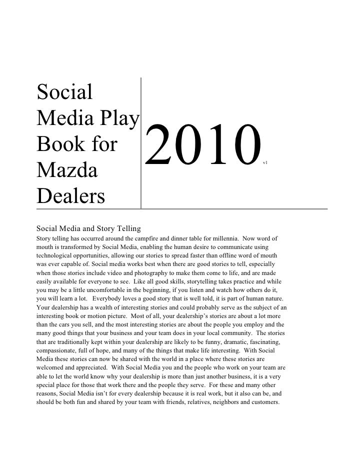 Social Media Play Book for Mazda                                          2010                                          v1...