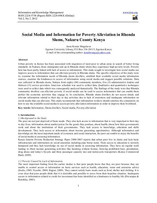Social media and information for poverty alleviation in rhonda slums, nakuru county kenya