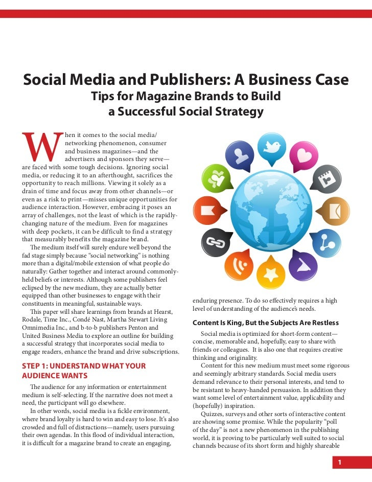 Social Media and publishers: a Business case                           tips for Magazine Brands to Build                  ...