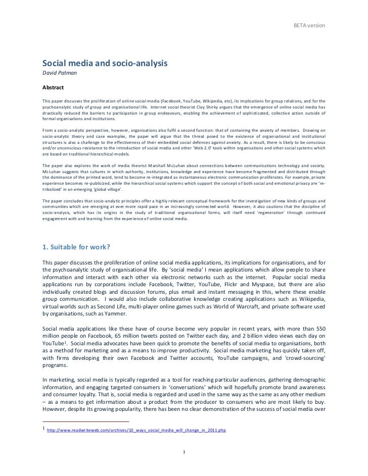 BETA	  version	  Social	  media	  and	  socio-­‐analysis	  David	  Patman	  	  Abstract	  	  This	  paper	  discusses	  th...
