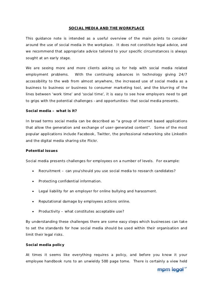 SOCIAL MEDIA AND THE WORKPLACEThis guidance note is intended as a useful overview of the main points to consideraround the...
