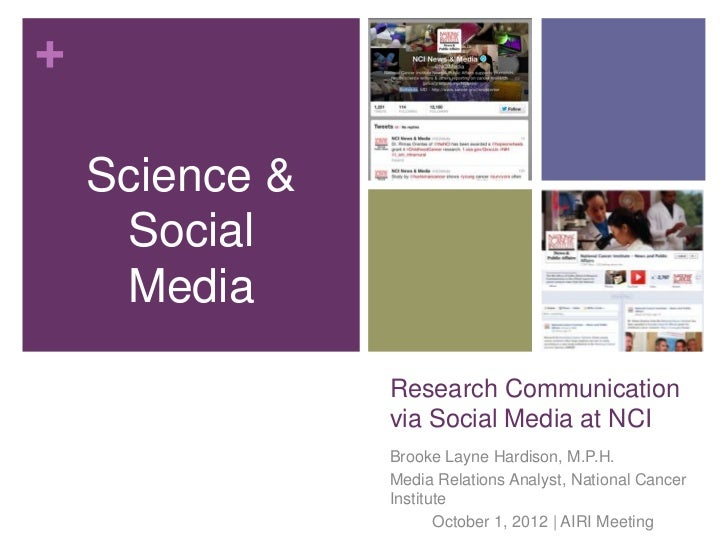 Research Communication via Social Media at the National Cancer Institute