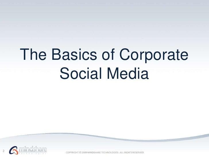 The Basics of Corporate Social Media<br />