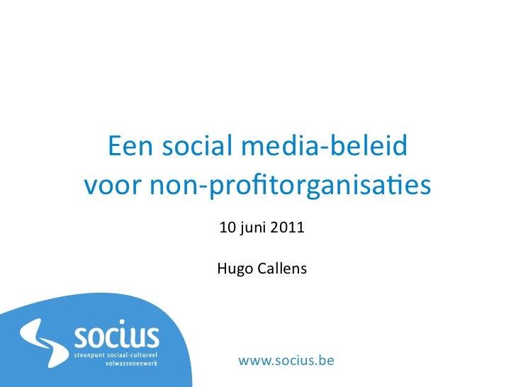Social media beleid voor non-profitorganisaties