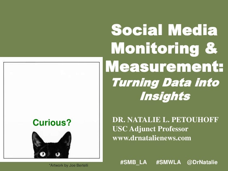 Social Media Monitoring &<br />Measurement:<br />Turning Data into Insights <br />DR. NATALIE L. PETOUHOFF<br />USC Adjunc...