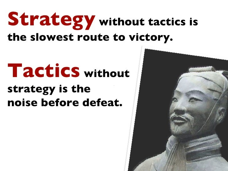 Text Strategy  without tactics is the slowest route to victory.  Tactics  without  strategy is the  noise before defeat.