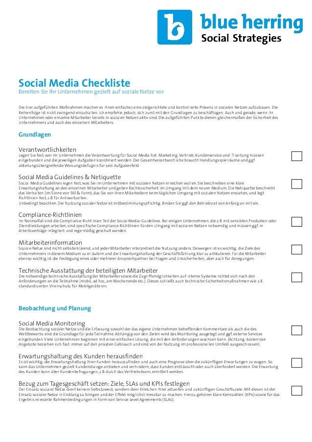 Social Media Checkliste  Bereiten Sie Ihr Unternehmen gezielt auf soziale Netze vor Die hier aufgeführten Maßnahmen machen...