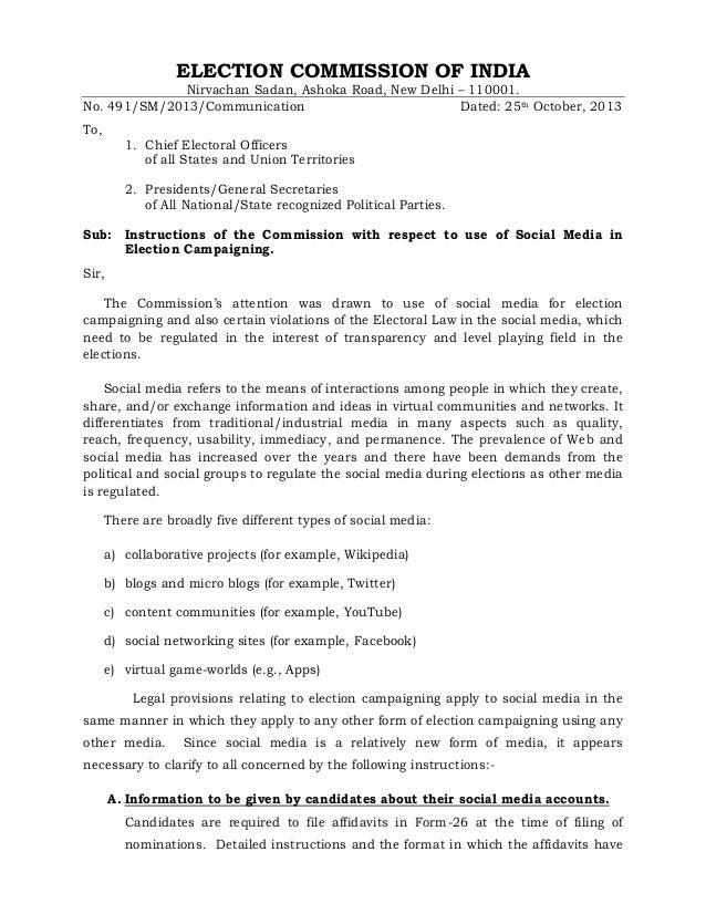 ELECTION COMMISSION OF INDIA  Nirvachan Sadan, Ashoka Road, New Delhi – 110001. No. 491/SM/2013/Communication Dated: 25th ...